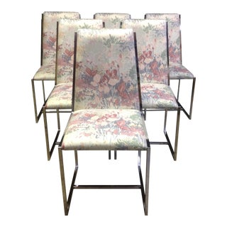 Milo Baughman Style Chrome and Floral Chairs - 6