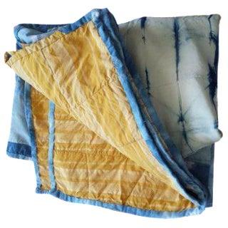 Silk & Linen Indigo Shibori Patchwork Quilt