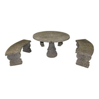Outdoor Pebbled Stone Patio Table & Benches