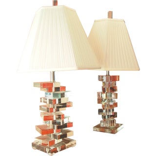 Clearlite by Bauer Stacked Lucite Lamps- A Pair