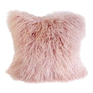 Millennial Pink Tibetan Curly Lamb Pillow