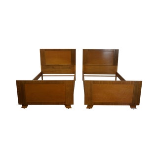 Eliel Saarinen for Northern Furniture Pair of Art Deco Birdseye Maple Twin Beds