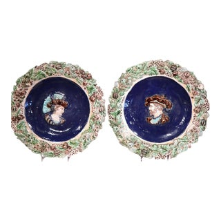 19th Century French Hand Painted Barbotine Chargers - A Pair