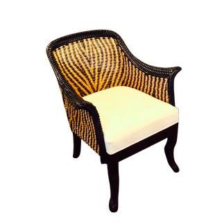 Palecek Zebra Wicker Chair With Wood Legs