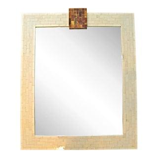 Tesselated Bone Mirror with Horn Keystone