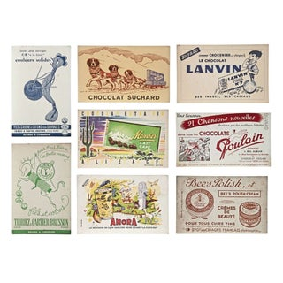 Vintage French Cardboard Signs - Set of 8