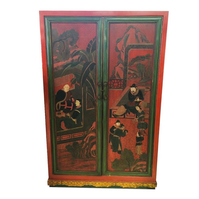 Hand Painted Chinoiserie Red Armoire - Image 1 of 5