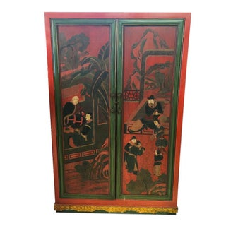 Hand Painted Chinoiserie Red Armoire