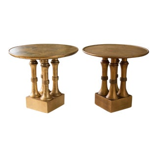 Hollywood Regency Gilt Wood Side Tables - A Pair