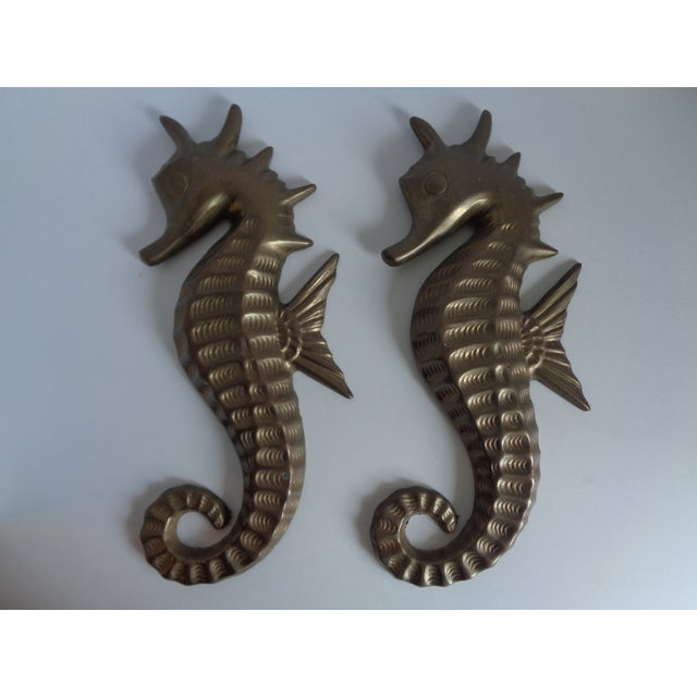 Mid Century Seahorse Wall Hangings - Pair - Image 2 of 4