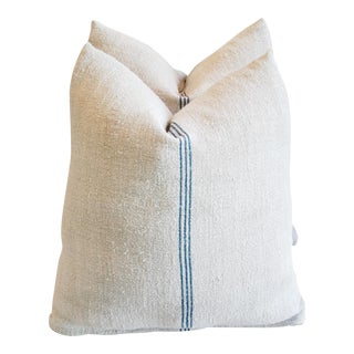 Custom French Grain Sack Down & Feather Pillows - Pair