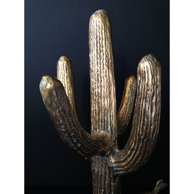 Vintage Brass Cactus Statue With Roadrunner - Image 4 of 5