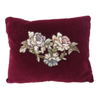 Velvet Burgundy Floral Applique Pillow