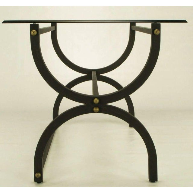 Curule Base Writing Table With Spherical Brass Ornamentation - Image 3 of 6