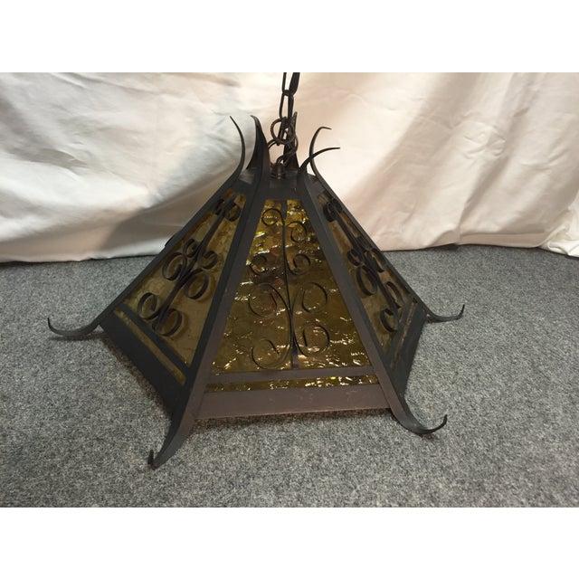 Gothic Spanish Revival Iron Slag Glass Light - Image 2 of 7