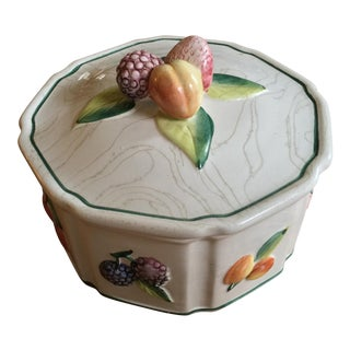 Vintage Ceramic Serving Dish with Fruit Details