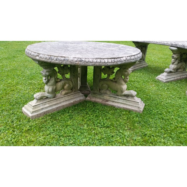 French Outdoor Coffee Table: French Rococo Lion Coffee Table Patio Cement