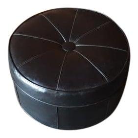 Vintage Black Vinyl Rolling Ottoman Footrest