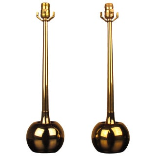 Mid-Century Brass Orb Lamps by Laurel