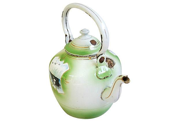 1920s Hand Painted French Country Tea Kettle Chairish