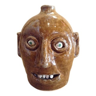 Reggie Meaders Folk Art Pottery Face Jug