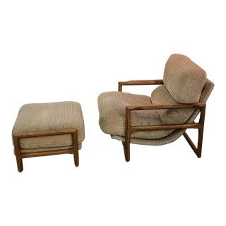 Milo Baughman Cube Scoop Chair & Ottoman