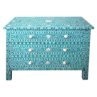 Indian Bone Inlaid Turquoise 3 Drawer Dresser
