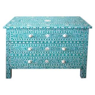 Indian Bone Inlaid Turquoise 3 Drawer Dresser