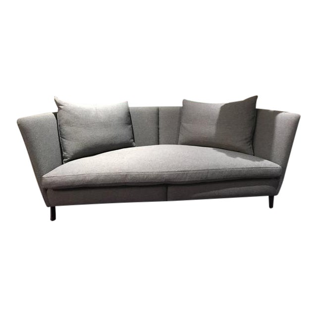 Grey Loveseat With & Black Leather Piping From One Of NYC