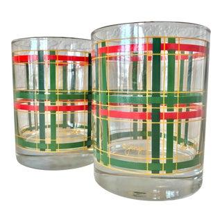 Vintage Georges Briard Christmas Plaid Highballs