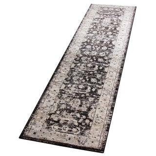 Antique-Style Brown Runner - 2′8″ × 10′
