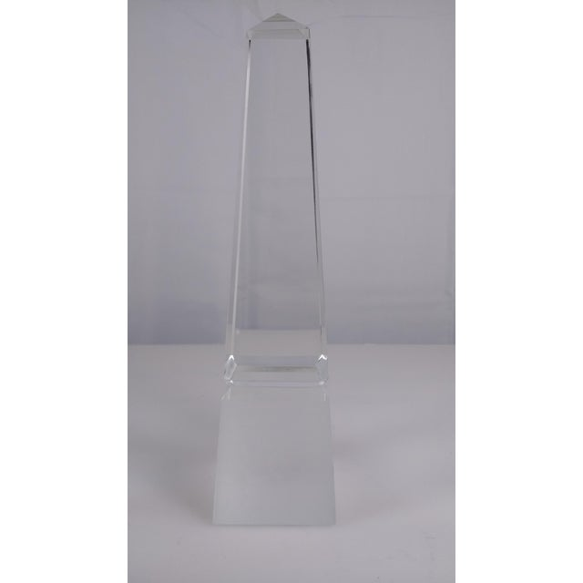 Image of Beveled Crystal Glass Obelisk Paperweight