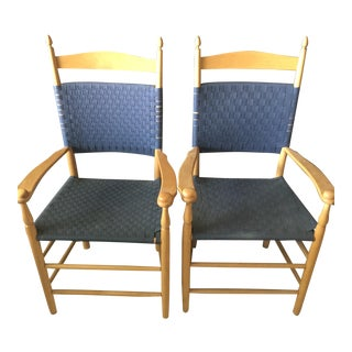 Blue Tape Back Armchairs - A Pair