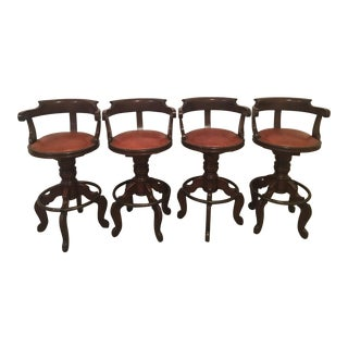 Leather and Wood Bar Stools - Set of 4