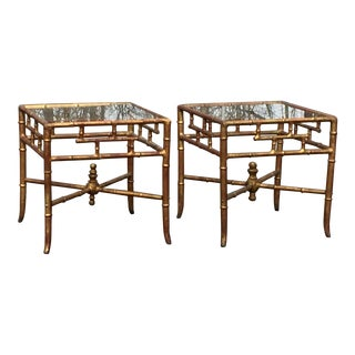 Gilt Metal Faux Bamboo End Tables - A Pair