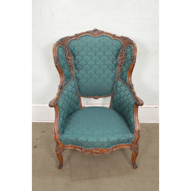 Antique Carved Rococo Style Wing Chair - Image 7 of 10