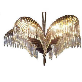 French Deco 'Baguès' Bronze' Palm Frond Chandelier