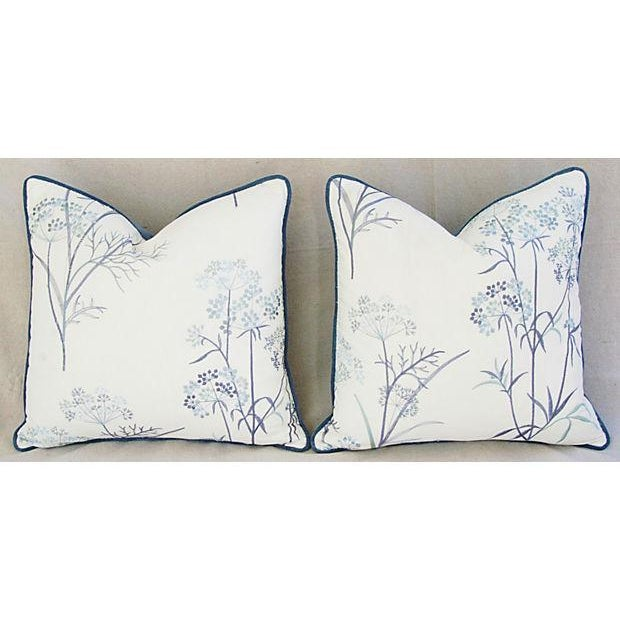 Designer Embroidered Blue Flower Pillows - A Pair - Image 3 of 8