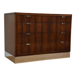 Mid-Century Rosewood, Walnut, and Chrome Dresser Chest