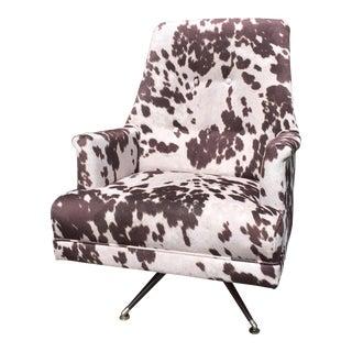 Mid-Century Modern Faux Pony Hide Swivel Rocking Chair