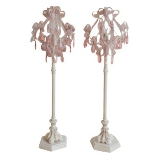 Beaded Pink & White Boudoir Vanity Lamps - Pair