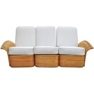 Art Deco Rattan Fan Arm 3 Seat Sofa