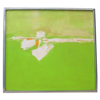 "Vintage Abstract Painting ""Green on Green"""