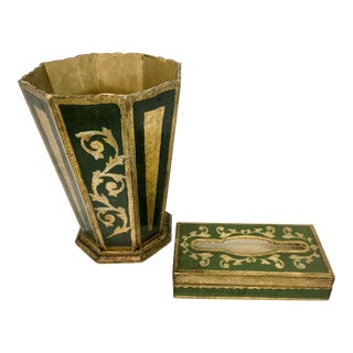 Giltwood Florentine Tissue &Trash Can Set