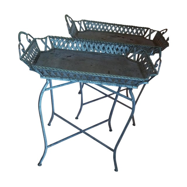 Image of Silvery Indoor/ Outdoor Metal Tray Tables