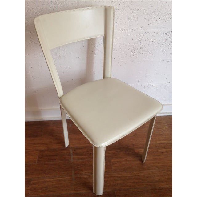 Image of DWR White Leather Chairs - A Pair