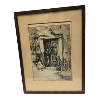 Antique Shop Scene Etching