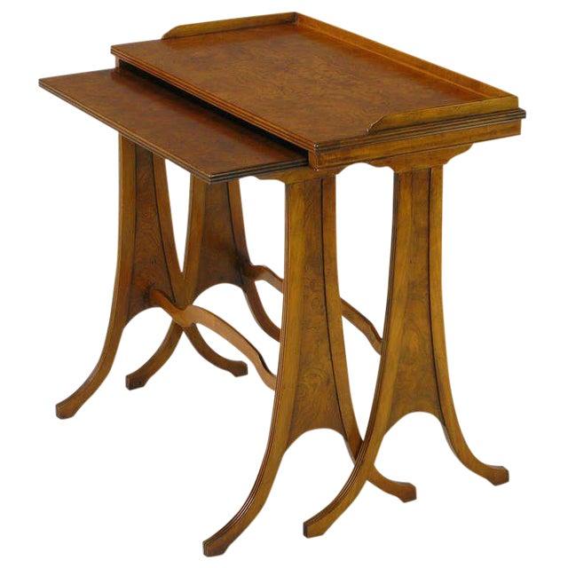 Baker Art Nouveau Style Burled Walnut Nesting Tables - Image 1 of 10