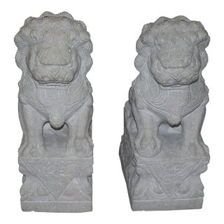 Foo Dog Stone Quartz Statues - A Pair