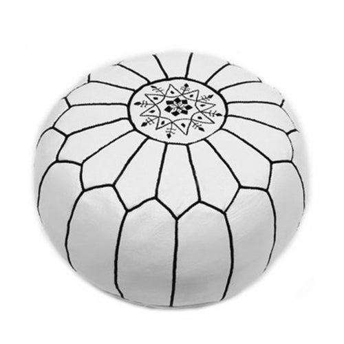 Black & White Handmade Moroccan Pouf Ottoman - Image 1 of 2